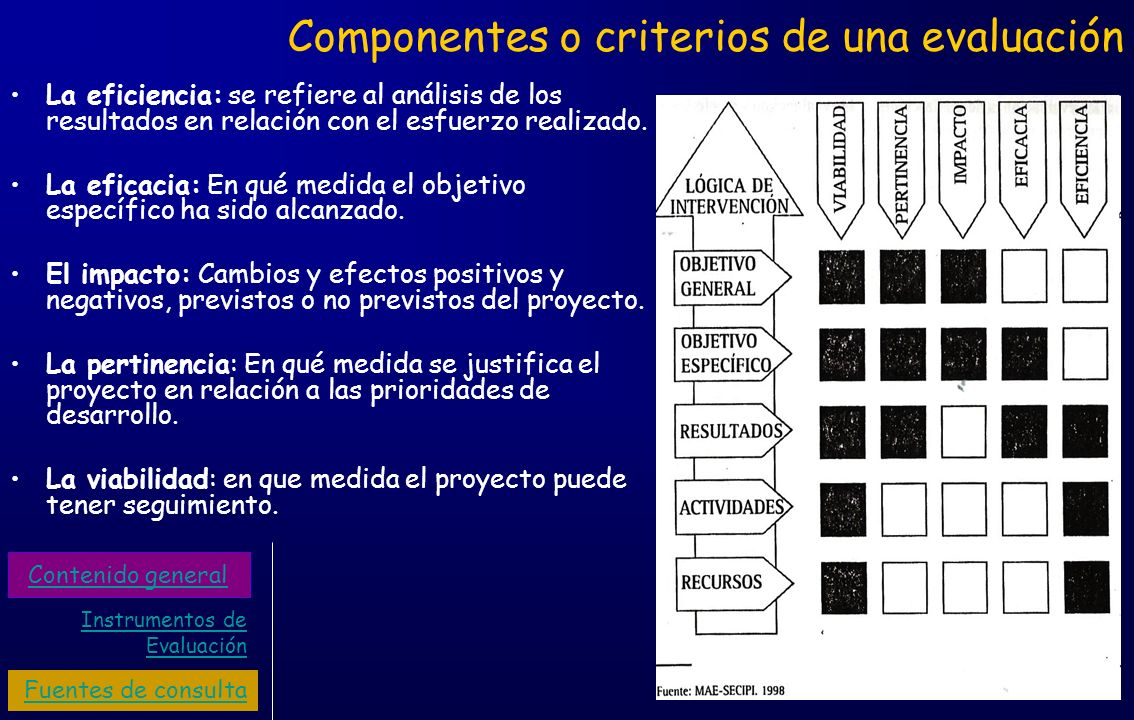 Componentes o criterios de una evaluación