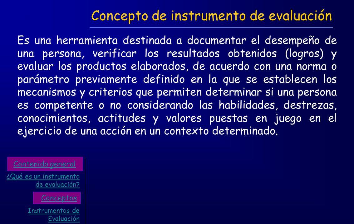 Concepto de instrumento de evaluación