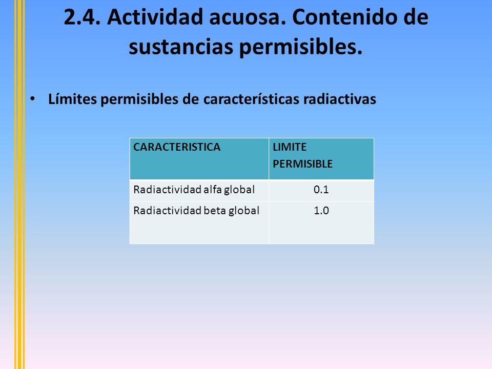 2.4. Actividad acuosa. Contenido de sustancias permisibles.