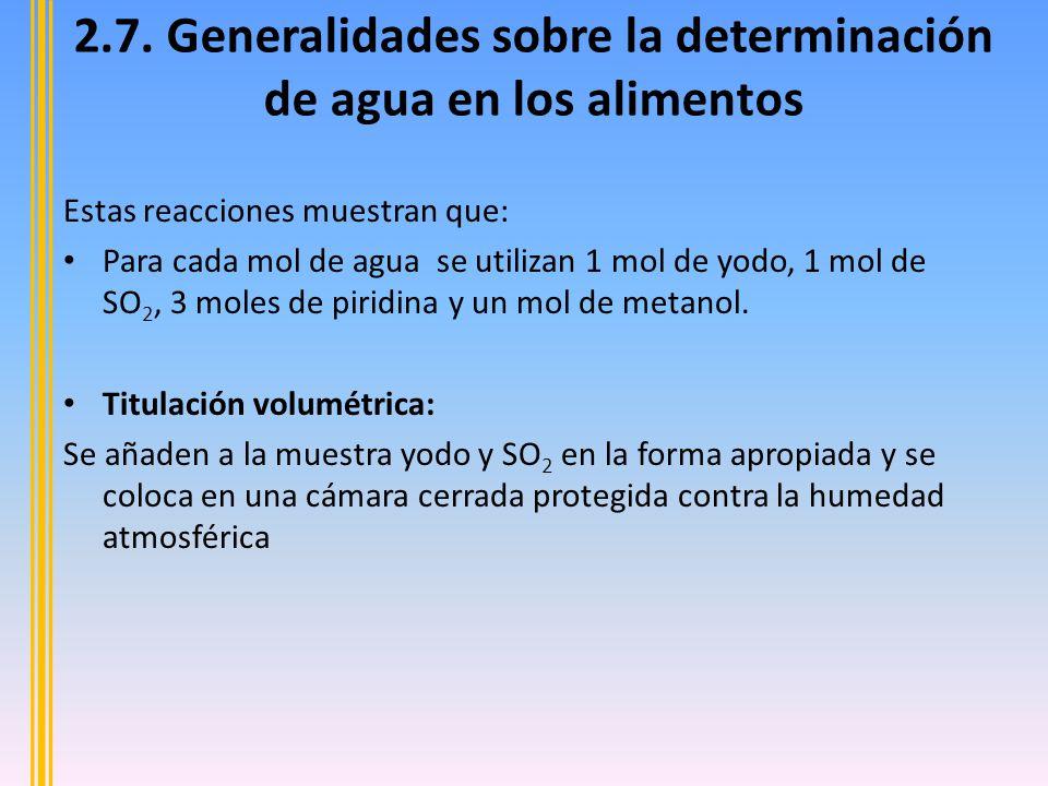 2.7. Generalidades sobre la determinación de agua en los alimentos