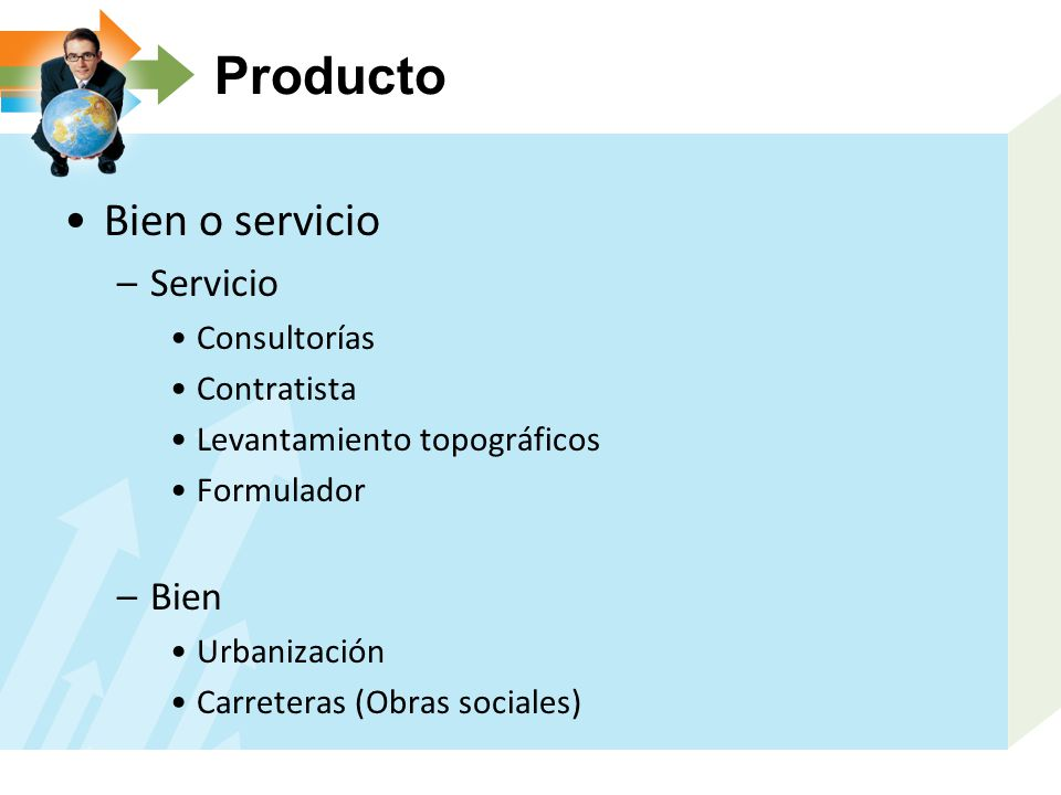 Producto Bien o servicio Servicio Bien Consultorías Contratista