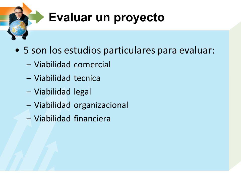 Evaluar un proyecto 5 son los estudios particulares para evaluar: