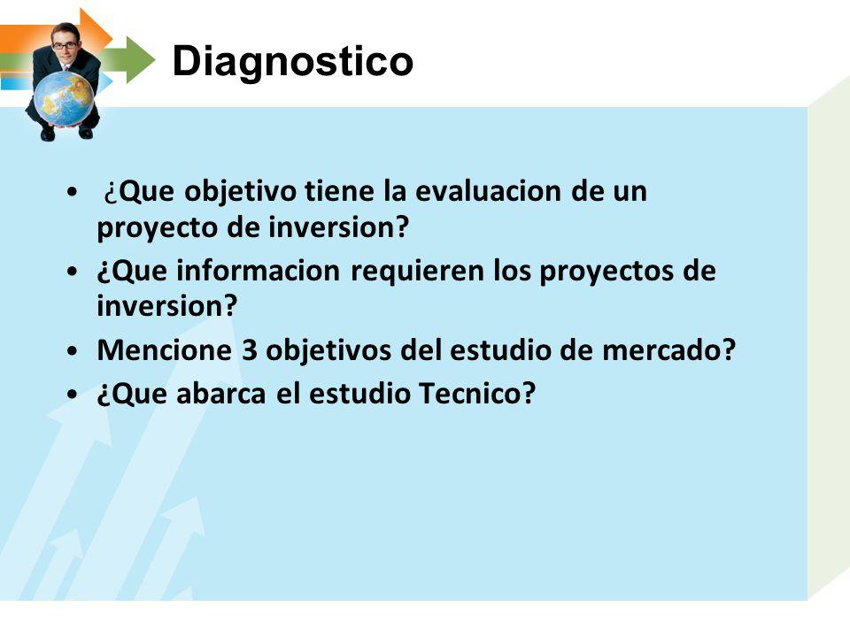 Diagnostico ¿Que objetivo tiene la evaluacion de un proyecto de inversion ¿Que informacion requieren los proyectos de inversion