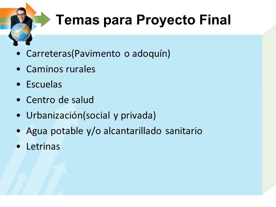 Temas para Proyecto Final
