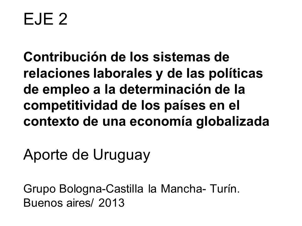 EJE 2 Contribución de los sistemas de relaciones laborales y de las políticas de empleo a la determinación de la competitividad de los países en el contexto de una economía globalizada Aporte de Uruguay Grupo Bologna-Castilla la Mancha- Turín.