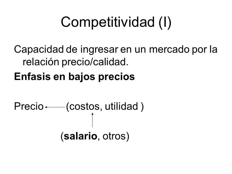Competitividad (I) Capacidad de ingresar en un mercado por la relación precio/calidad. Enfasis en bajos precios.