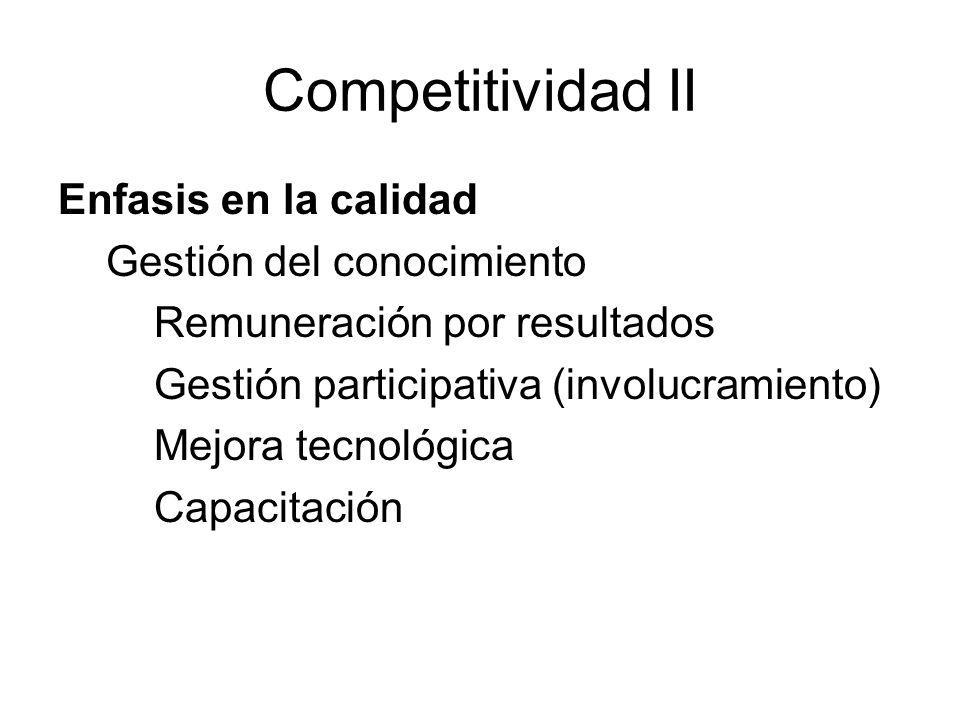 Competitividad II Enfasis en la calidad Gestión del conocimiento