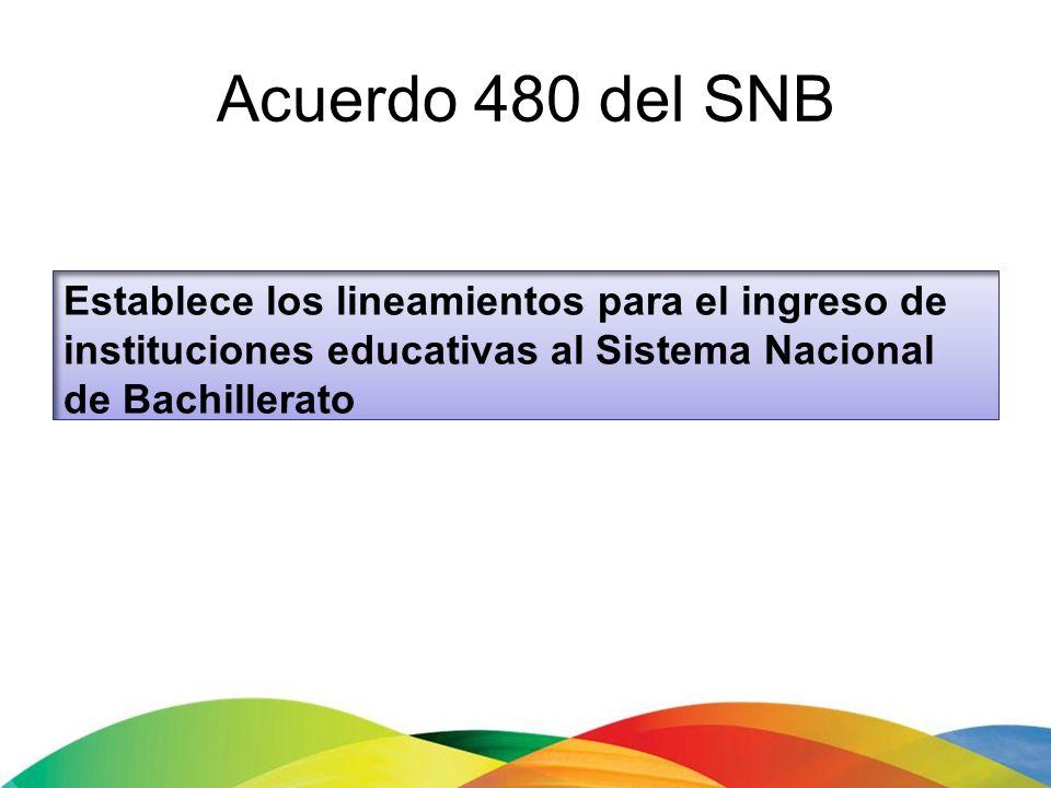 Acuerdo 480 del SNB Establece los lineamientos para el ingreso de instituciones educativas al Sistema Nacional de Bachillerato.