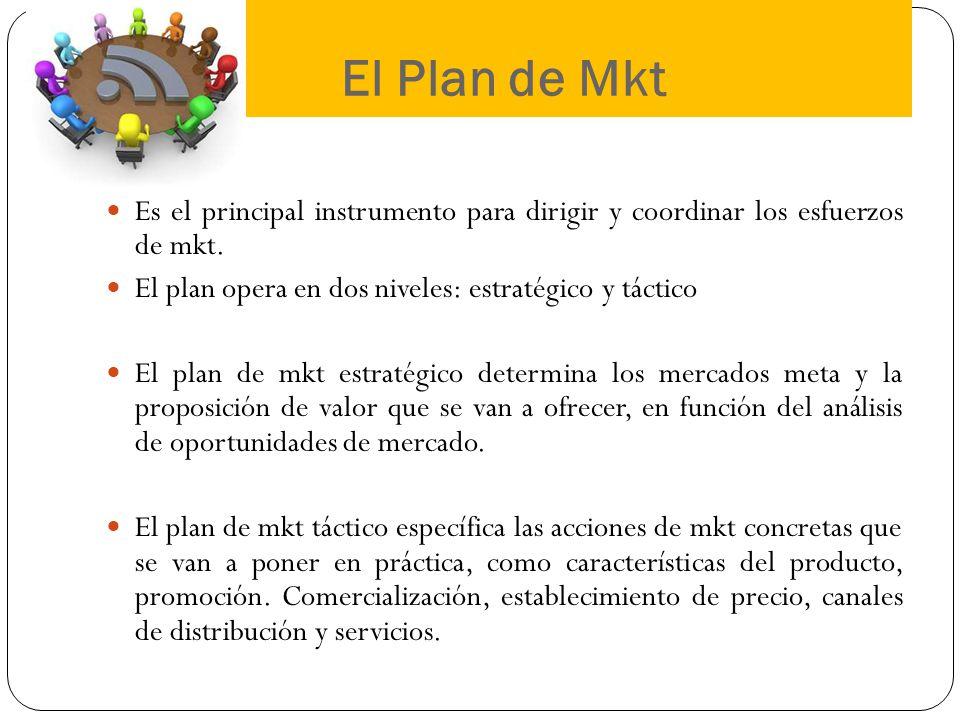 El Plan de Mkt Es el principal instrumento para dirigir y coordinar los esfuerzos de mkt. El plan opera en dos niveles: estratégico y táctico.