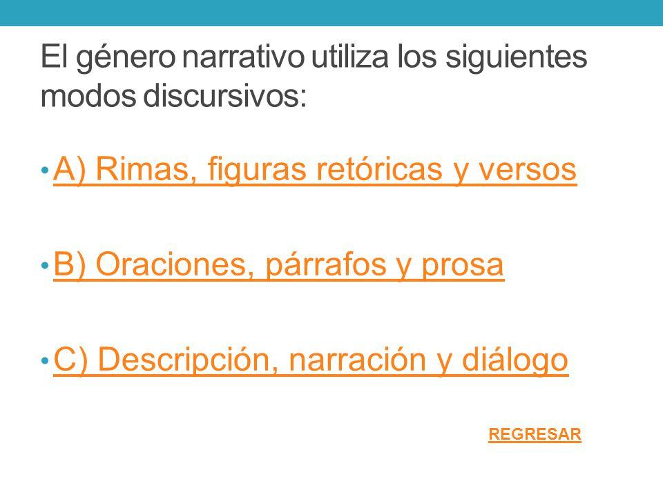 El género narrativo utiliza los siguientes modos discursivos: