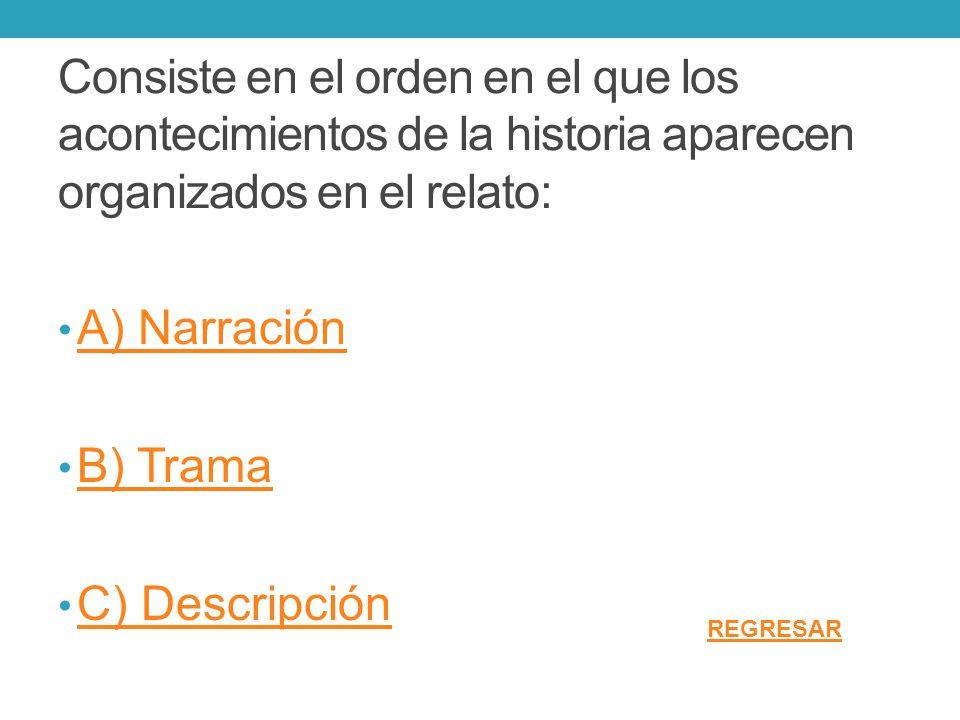 Consiste en el orden en el que los acontecimientos de la historia aparecen organizados en el relato: