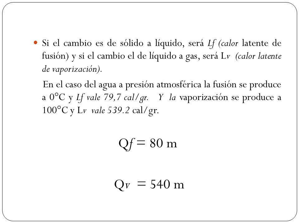 Si el cambio es de sólido a líquido, será Lf (calor latente de fusión) y si el cambio el de líquido a gas, será Lv (calor latente de vaporización).