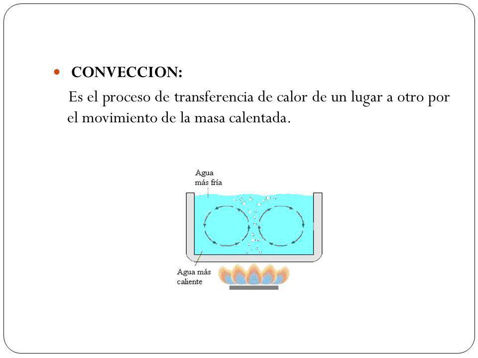 CONVECCION: Es el proceso de transferencia de calor de un lugar a otro por el movimiento de la masa calentada.