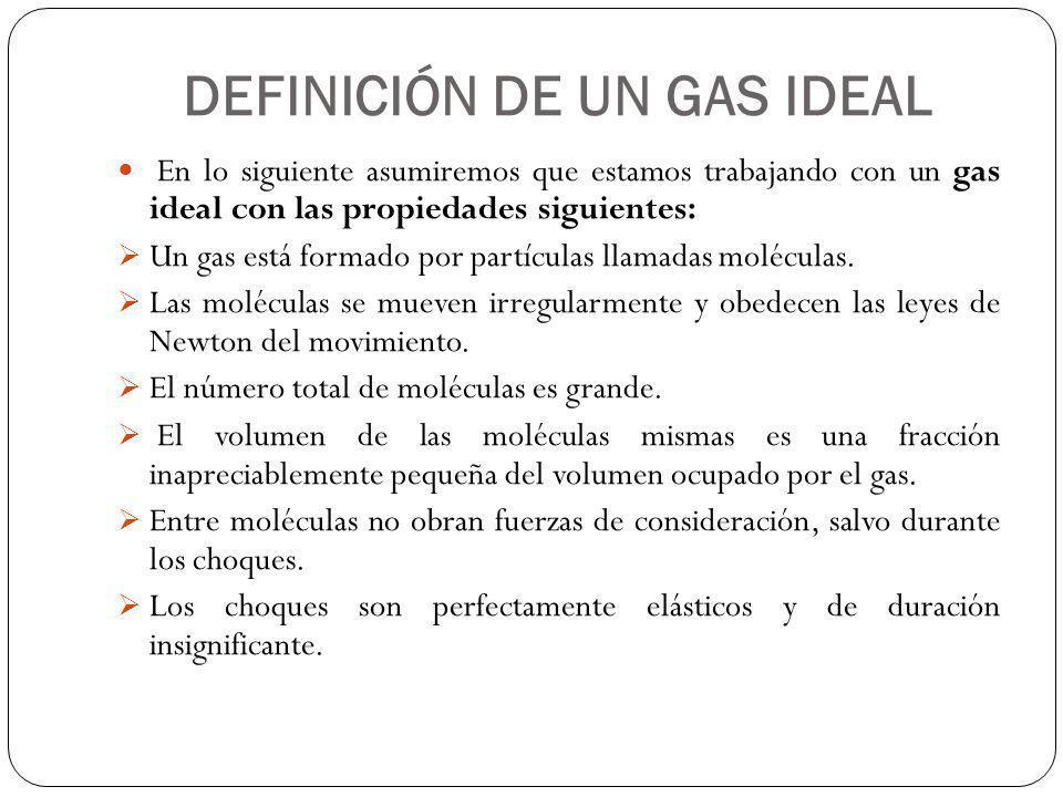 DEFINICIÓN DE UN GAS IDEAL