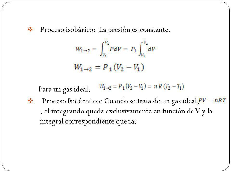 Proceso isobárico: La presión es constante.