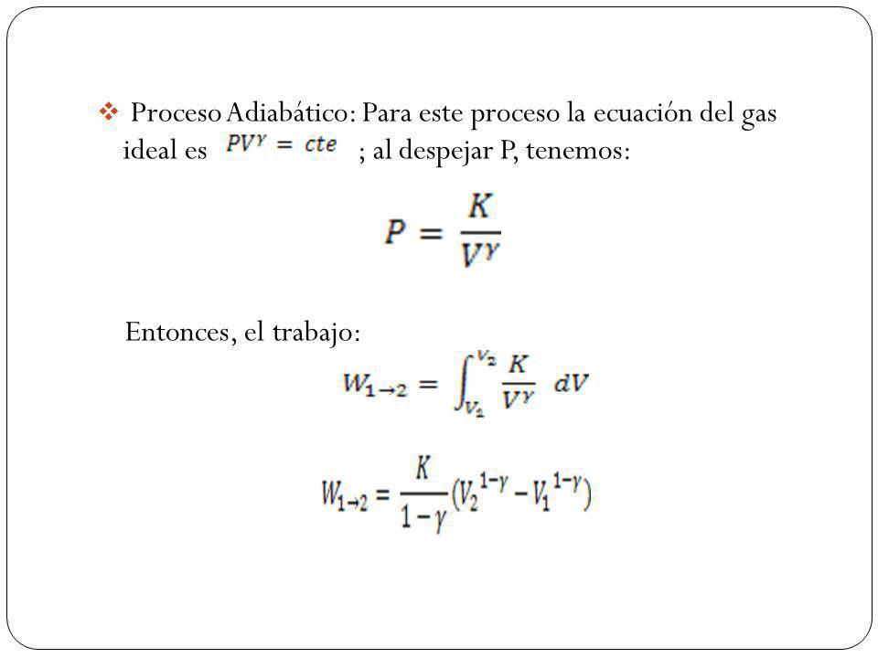 Proceso Adiabático: Para este proceso la ecuación del gas ideal es ; al despejar P, tenemos: