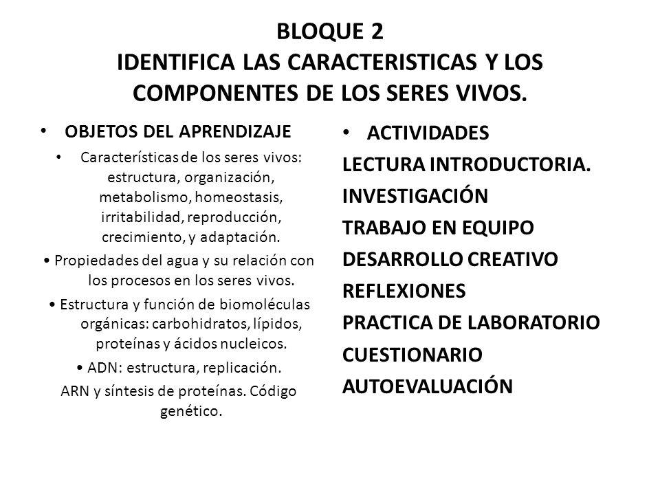 BLOQUE 2 IDENTIFICA LAS CARACTERISTICAS Y LOS COMPONENTES DE LOS SERES VIVOS.