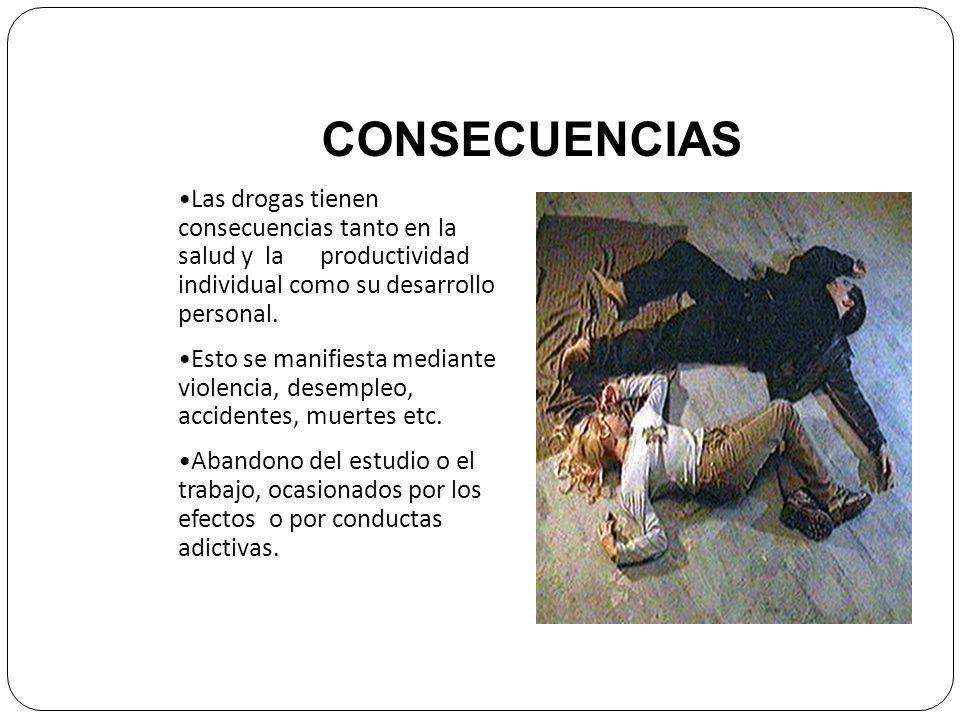 CONSECUENCIAS Las drogas tienen consecuencias tanto en la salud y la productividad individual como su desarrollo personal.