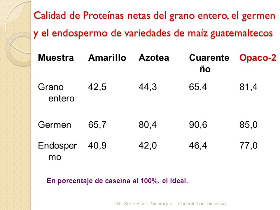 Calidad de Proteínas netas del grano entero, el germen y el endospermo de variedades de maíz guatemaltecos