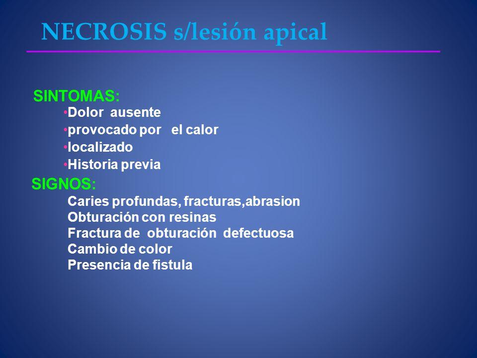 NECROSIS s/lesión apical