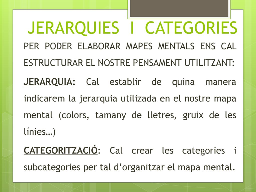 JERARQUIES I CATEGORIES