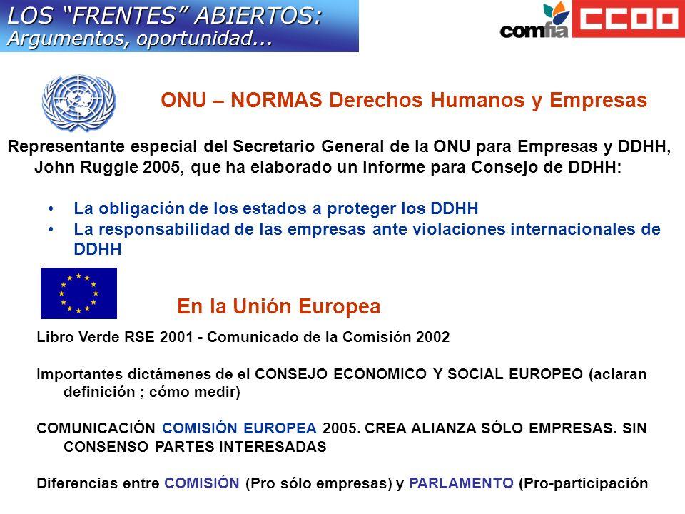 LOS FRENTES ABIERTOS: Argumentos, oportunidad...