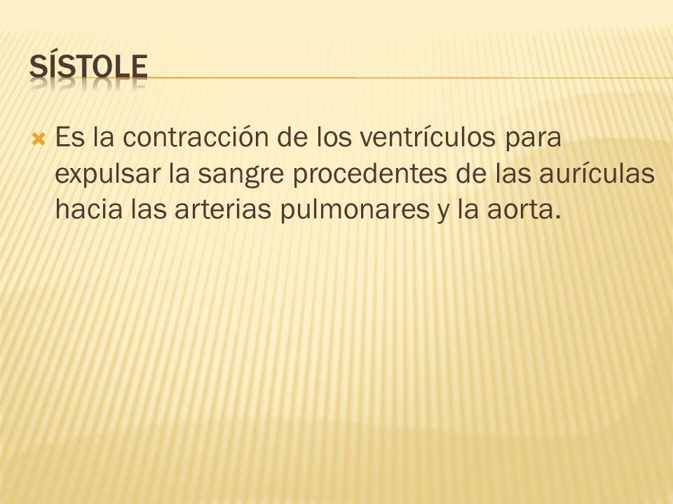 sístole Es la contracción de los ventrículos para expulsar la sangre procedentes de las aurículas hacia las arterias pulmonares y la aorta.