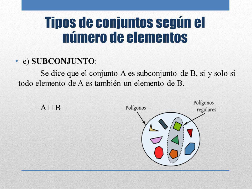 Tipos de conjuntos según el número de elementos
