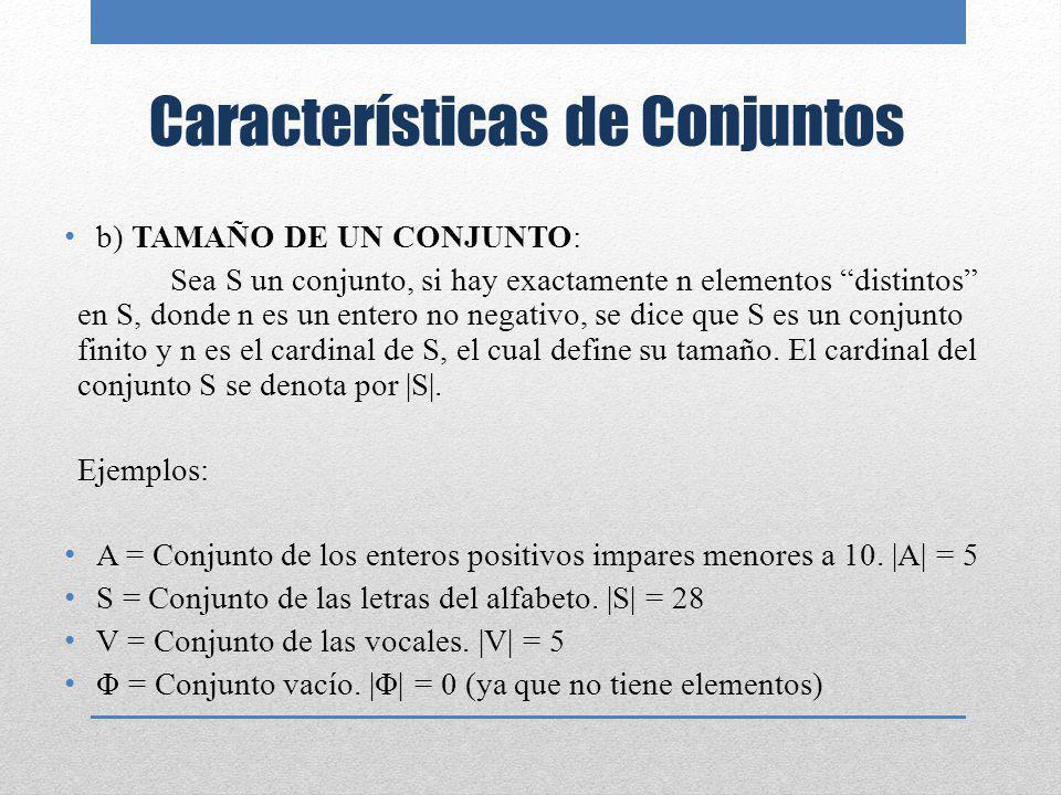 Características de Conjuntos