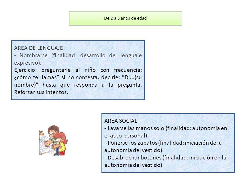 - Nombrarse (finalidad: desarrollo del lenguaje expresivo).