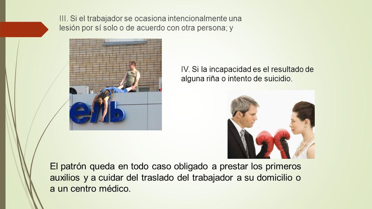 III. Si el trabajador se ocasiona intencionalmente una lesión por sí solo o de acuerdo con otra persona; y