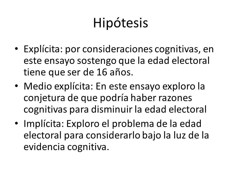 Hipótesis Explícita: por consideraciones cognitivas, en este ensayo sostengo que la edad electoral tiene que ser de 16 años.