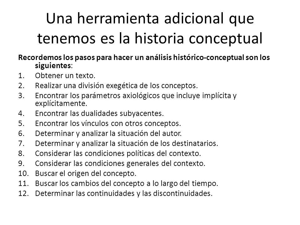 Una herramienta adicional que tenemos es la historia conceptual