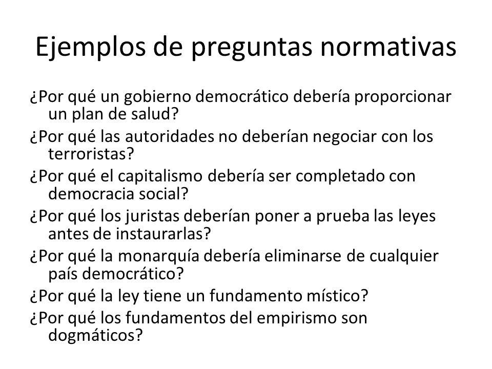 Ejemplos de preguntas normativas