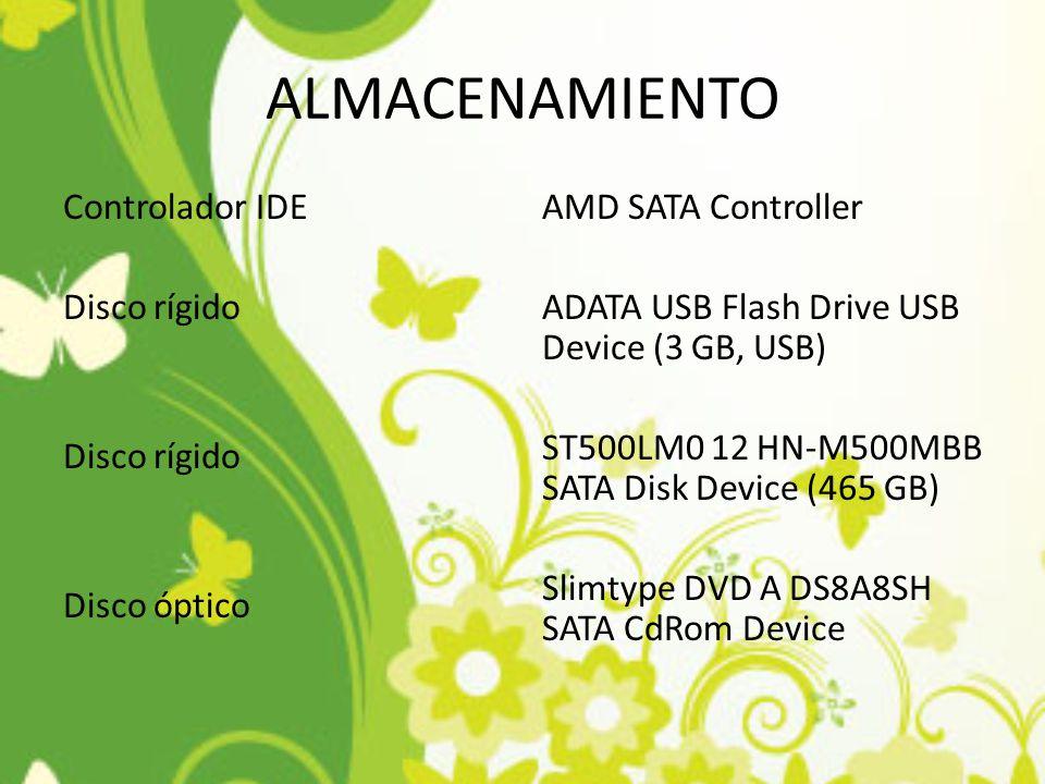 ALMACENAMIENTO Controlador IDE Disco rígido Disco óptico
