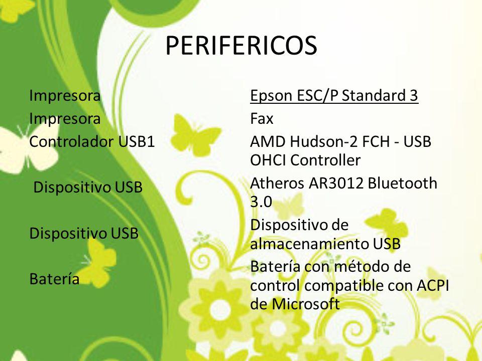 PERIFERICOS Impresora Controlador USB1 Dispositivo USB Dispositivo USB Batería