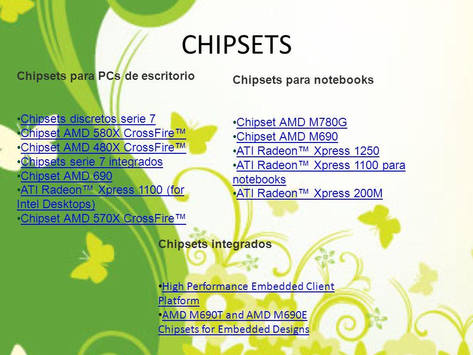 CHIPSETS Chipsets para PCs de escritorio Chipsets para notebooks