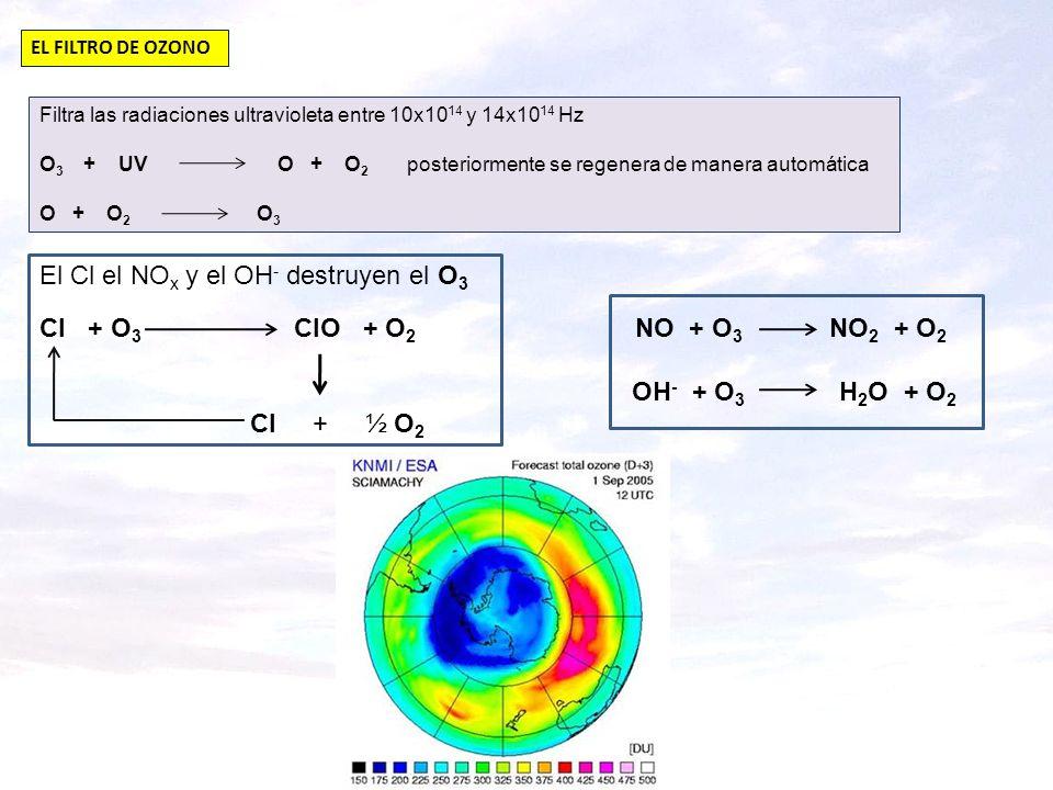 El Cl el NOx y el OH- destruyen el O3