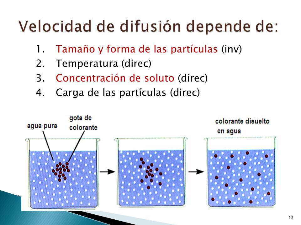 Velocidad de difusión depende de: