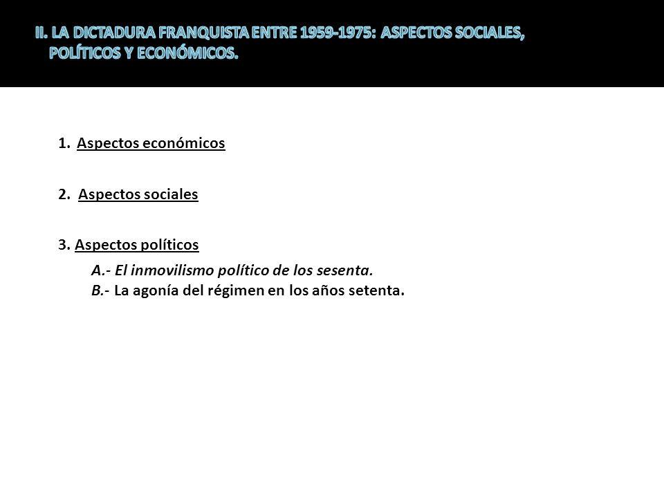 II. LA DICTADURA FRANQUISTA ENTRE 1959-1975: ASPECTOS SOCIALES, POLÍTICOS Y ECONÓMICOS.