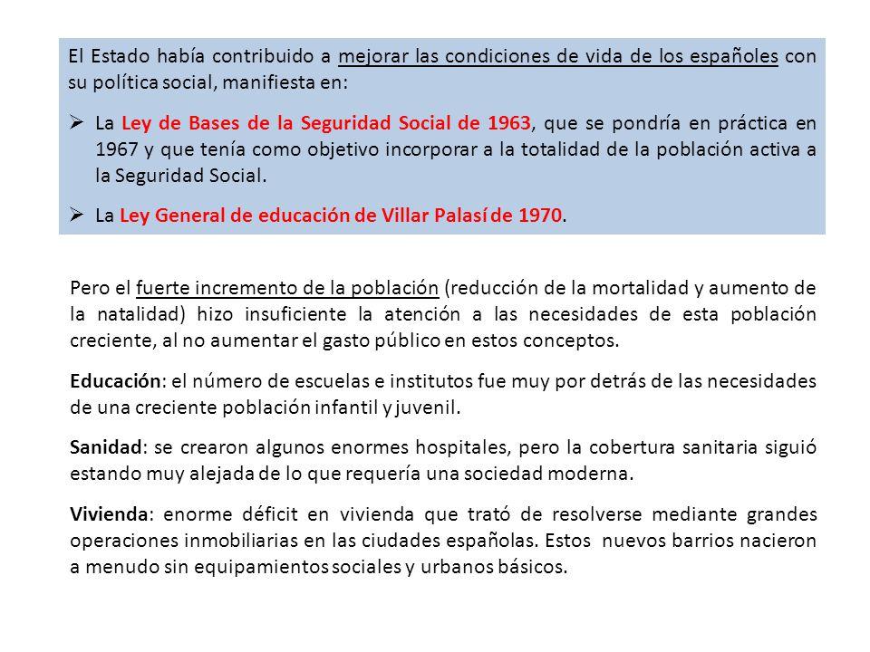 El Estado había contribuido a mejorar las condiciones de vida de los españoles con su política social, manifiesta en: