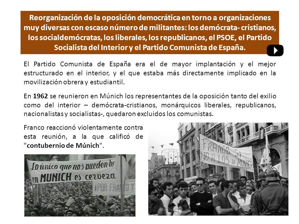 Reorganización de la oposición democrática en torno a organizaciones muy diversas con escaso número de militantes: los demócrata- cristianos, los socialdemócratas, los liberales, los republicanos, el PSOE, el Partido Socialista del Interior y el Partido Comunista de España.