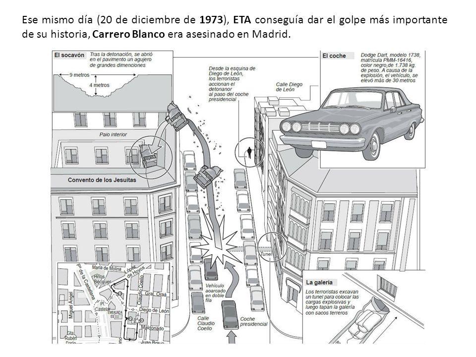 Ese mismo día (20 de diciembre de 1973), ETA conseguía dar el golpe más importante de su historia, Carrero Blanco era asesinado en Madrid.