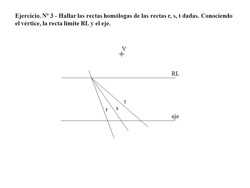 Ejercicio. Nº 3 - Hallar las rectas homólogas de las rectas r, s, t dadas.