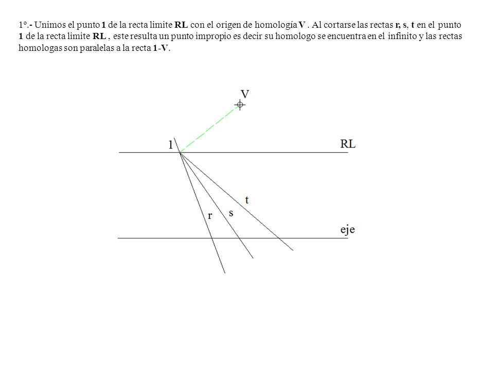 1º.- Unimos el punto 1 de la recta limite RL con el origen de homología V .