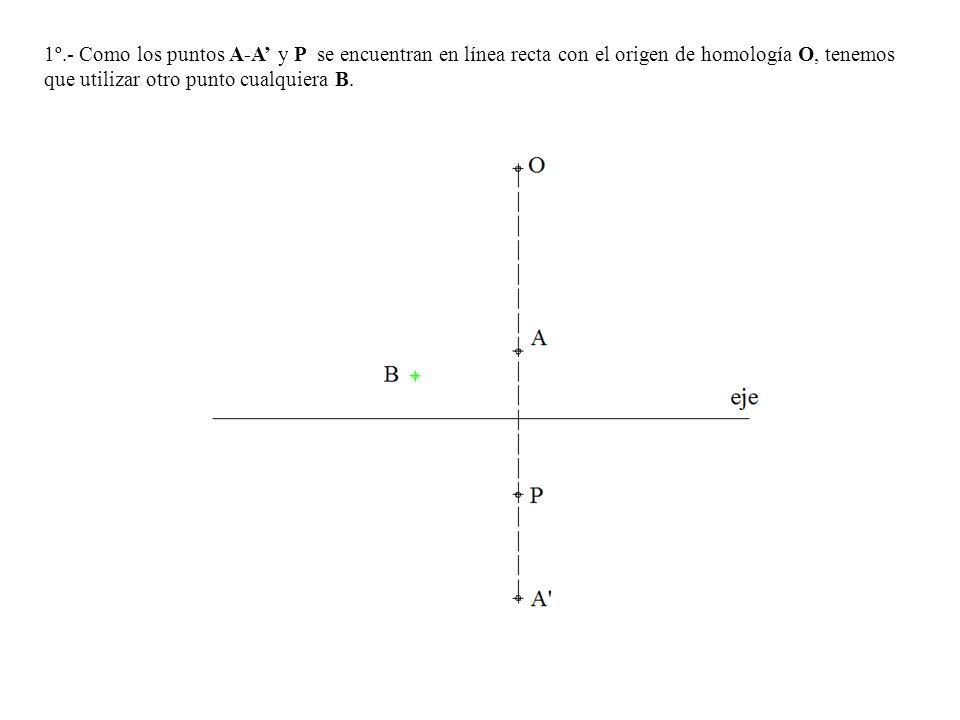 1º.- Como los puntos A-A' y P se encuentran en línea recta con el origen de homología O, tenemos que utilizar otro punto cualquiera B.