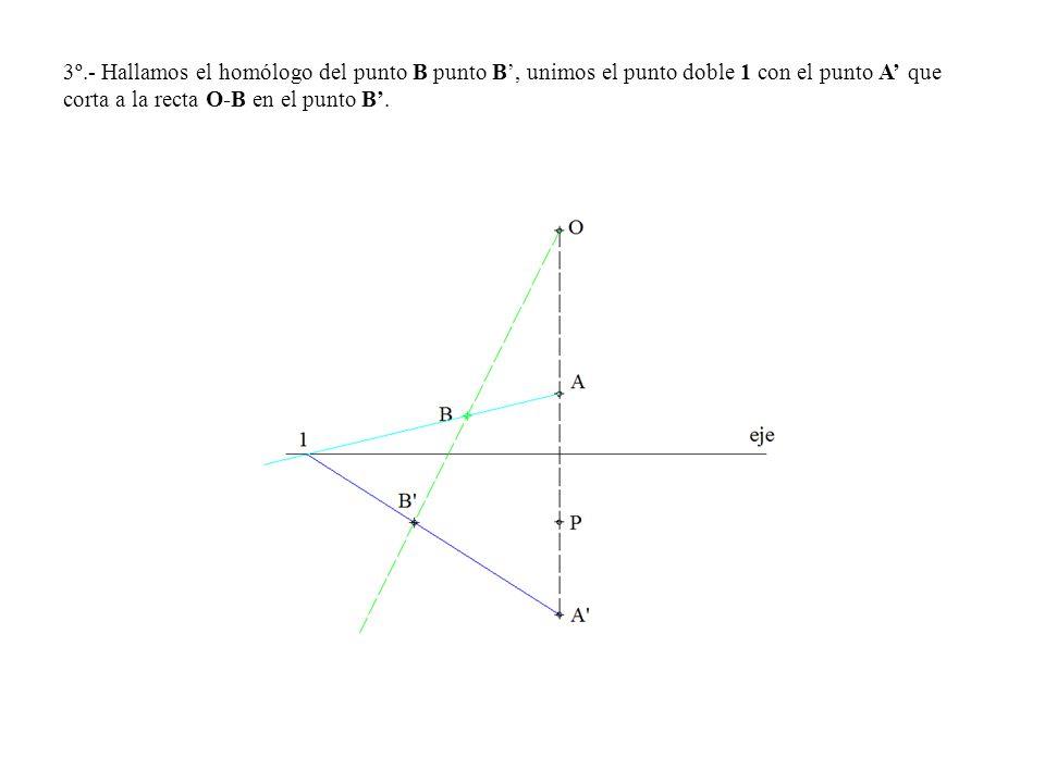 3º.- Hallamos el homólogo del punto B punto B', unimos el punto doble 1 con el punto A' que corta a la recta O-B en el punto B'.