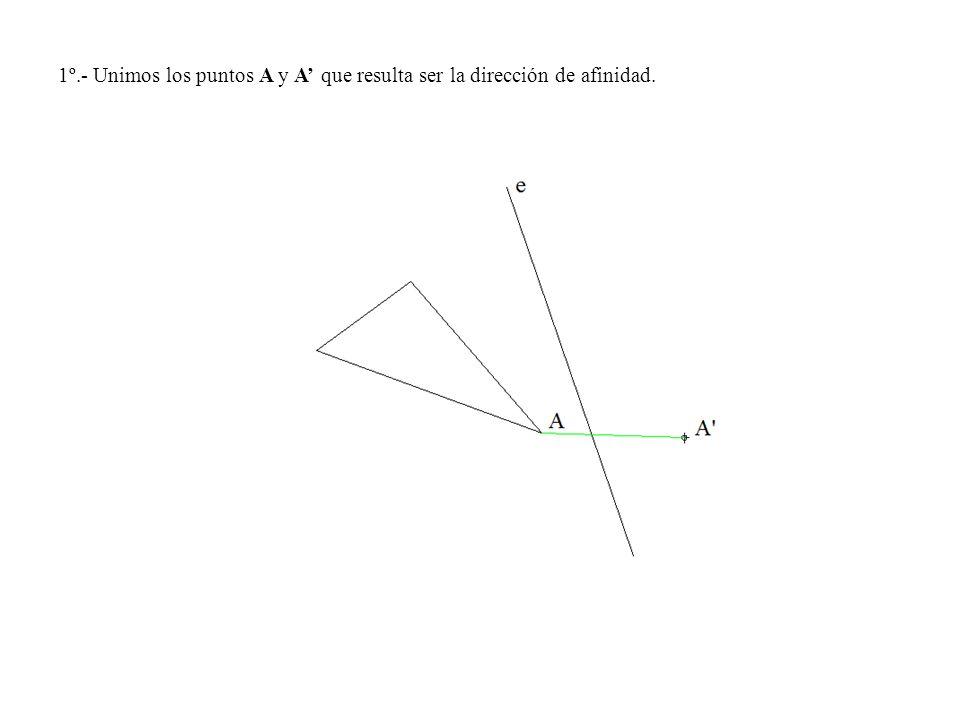 1º.- Unimos los puntos A y A' que resulta ser la dirección de afinidad.