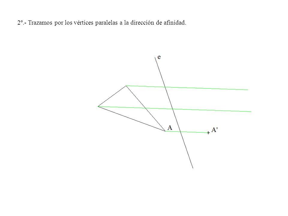 2º.- Trazamos por los vértices paralelas a la dirección de afinidad.