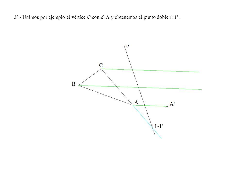 3º.- Unimos por ejemplo el vértice C con el A y obtenemos el punto doble 1-1'.